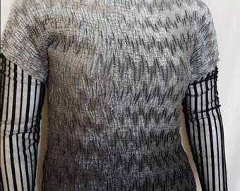 1990s vintage crinkle silk ombre sheer sleeved funky artsy top / size XL / plus sized vintage