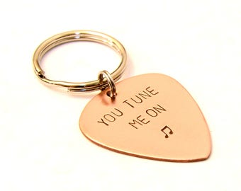 Copper Keychain Guitar Pick with You Tune Me On - KC7558