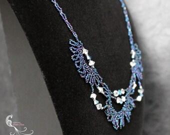 swarovski crystal necklace, crystal jewelry, beadwork necklace, seed bead necklace, seed bead jewelry, beaded necklace, beaded jewelry