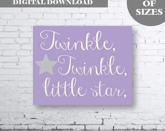 TWINKLE TWINKLE Little Star Print-Instant Download. Twinkle Twinkle Little Star Art. Twinkle Twinkle Little Star Nursery Print. Lavender.