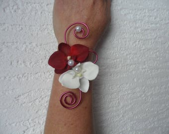 Flowers for wedding - orchids - white and Burgundy duo bracelet