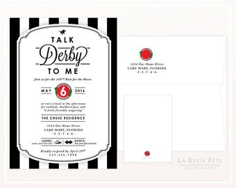TALK DERBY to ME Kentucky Derby Party invitation with racehorse, roses, hats and bowties
