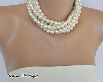 Collar pearls,Chunky Layered Ivory Pearl Necklace brides bridesmaid special occasion