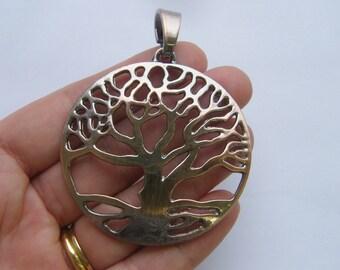 1 Tree pendant antique copper tone CC70