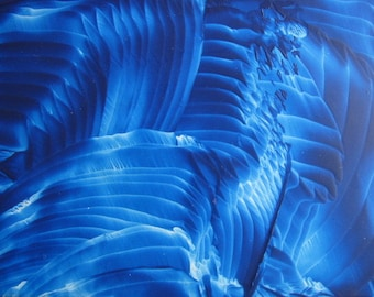 4X6 Blue Velvet Encaustic (Wax) Abstract Original Painting / Royal Blue / Blue Ridges / Postcard Size Art /SFA (Small Format Art)