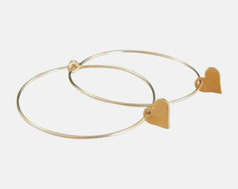 Gold Hoop Earrings, Rose Gold Hoop Earrings, Heart Hoop Earrings, Heart Earrings, 14kt Gold Fill Hoop Earrings, Thin Gold Hoops