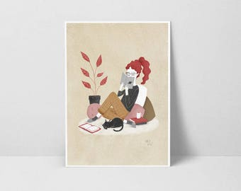 Print Reader and cat - Illustration by Nuria Diaz