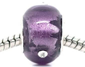 Lot 2 European lampwork beads purple glass + rhinestones - for bracelet