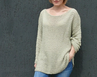 Plus size Cotton sweater Loose knit Woman cotton sweater Chunky sweater Hand knit sweater Organic cotton sweater