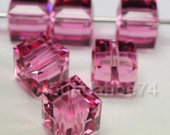 12 pcs Swarovski Elements - Swarovski Crystal 5601 4mm CUBE - ROSE