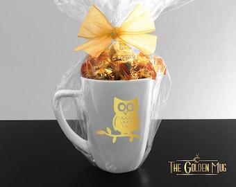 Gold Owl Mug Cute Owl On Tree Branch Mug - Cute Owl Hoot Mug In Gold Foil - Cute Tree Mug With Real Gold Foil - Own on Branch Mug Hoot Mug
