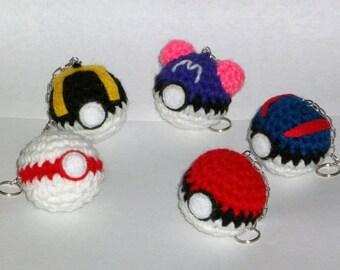 Pokeball Crochet Keychain