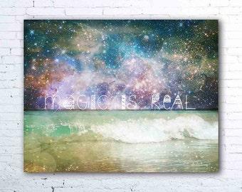 bohemian wall art - magic is real - surreal ocean wave photography