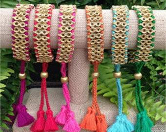 Tassel and Brass Bracelet, Statement Bracelet, Best Friend Gift, Gift for Her, Tassel Jewelry, Adjustable Bracelet, Preppy Bracelet