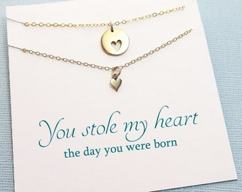 Gift for Mom | Mother Daughter Heart Necklace Jewelry Set, Mother Daughter Gift Set, Mothers Day Gift, Mom Gift, Mom Necklace  | MD02