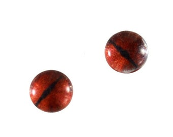 SALE 6mm Red Dragon Eye Glass Cabochons - Evil Eyes for Doll or Jewelry Making - Set of 2