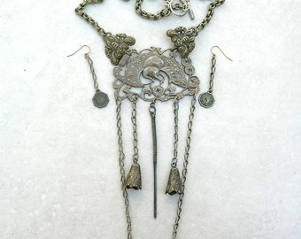 UNUSUAL Antique Chinese Bat Pendant, Dangles & Chain, Collector's Piece, Investment Necklace Set by SandraDesigns