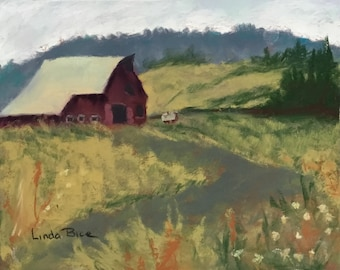 Pastel painting - Barn at the End of the Road