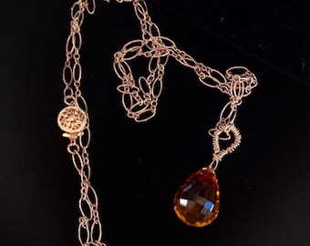 SALE Gold Necklace Long Honey Quartz Gemstone Wire Wrapped