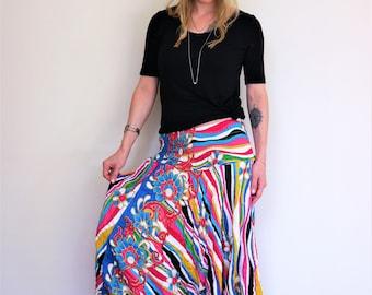 Rainbow Thai Harem Pants in Cotton, Multicolor sripes w flowers. Amonchai. Express shipping
