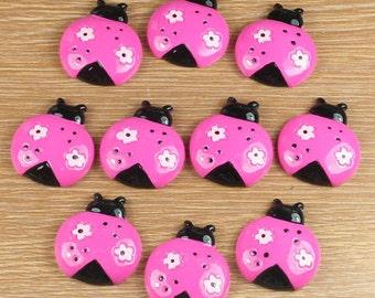 10pcs Pink Mauve Ladybug Ladybird Animal Resin Cabochon Flatbacks Flat Back Scrapbooking Hair Bow Center Crafts Making Embellishments DIY