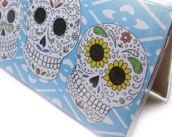 Sugar Skull Checkbook Cover - Tres Amigos - Day of the Dead sugar skull cover for your checkbook - top tear or side tear - check book case