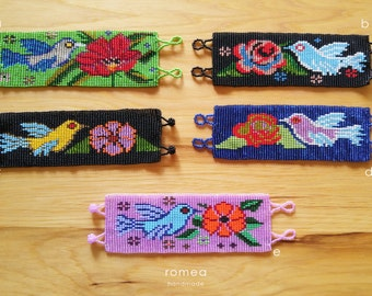 Mexican Beaded Bracelets - Geometric and Birds Pattern - Huichol Art - Romea Accessories - Jewelry - Chaquiras
