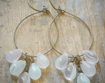 pale seafoam swirl cluster hoop earrings. pale mint swirl czech glass drops on oxidized sterling silver by val b.