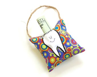 Tooth fairy pillow, tooth fairy pouch, kids pillow, purple colorful pillow, Easter basket filler
