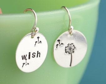 Hand Stamped Sterling Silver Wish Dandelion Earrings