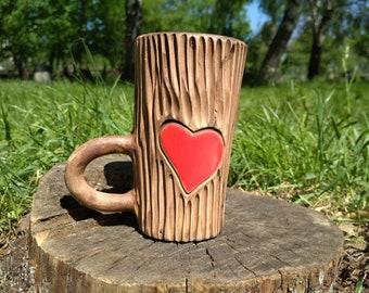 Heartlet pottery cup Love coffee mug Lovers cup Heart latte mug Cappuccino cup Rustic mug Wedding gift Valentine's Day mug Christmas gift