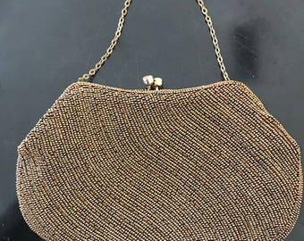 Bronze beaded vintage purse