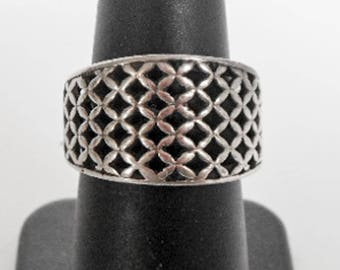 Vintage Weave Band   Sterling Silver   Size 7 1/4    Braided Ring