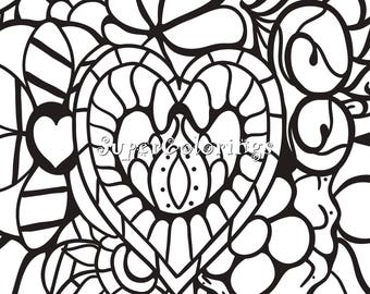 Valentine's Day, Heart, Love, Printable Colouring Page, INSTANT Download PDF/JPG, Relax, Adult Coloring, Color Pages, Digital, #019