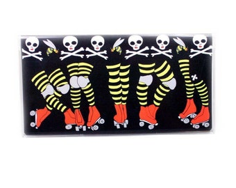vinyl Checkbook Cover - Roller Derby Legs - choice of top tear or side tear - purse accessory - check book case - beesocks - roller skates
