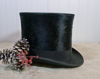 Edwardian style beaver fur top hat