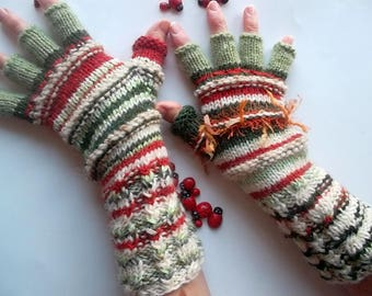 Women L 20% OFF OOAK Half Fingers Ready To Ship Wool Accessories Wrist Warmers Gloves Winter Unisex Hand Knitted Gift Multicolor Striped 81