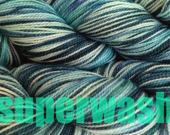 Fingering Weight Handpainted Sock Yarn in Beach Glass Superwash Mint Green Blue Teal