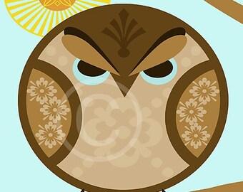 Halloween Art, Halloween, Illustration, Circle Art, Owl, Tree, Moon, Brown, Blue, 8x10