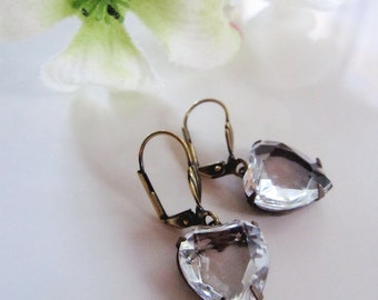 Clear Glass Heart earrings, Bohemian, Vintage Style, Small Dangle Earrings, Brass, Estate Vintage Style, Wedding Earrings