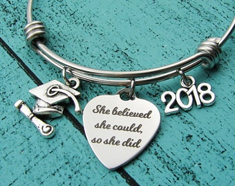2018 college graduation gift, for graduate, she believed she could so she did, high school graduation gift for her, senior student, congrats