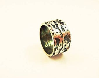 """Textured and oxidized silver man """"Athor"""" ring"""
