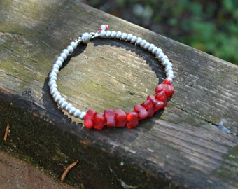 Recycled Glass Bracelet red and silver glass beaded bracelet handmade jewelry gift