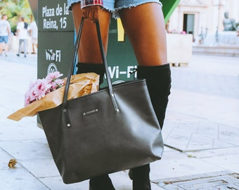 Leather Tote Bag, Black Leather Tote Bag, Leather tote, Black Leather Tote, Casual Leather Tote, Everyday Tote, Leather Purse, Shopping Bag