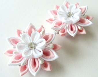 Kanzashi  Fabric Flowers. Set of 2 hair clips. Lt. pink and white.