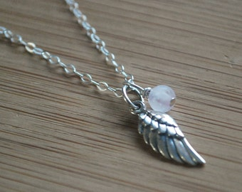 Angel wing + Rose Quartz Delicate sterling silver necklace rose quartz + wing, layering necklace Dainty everyday necklace guardian angel