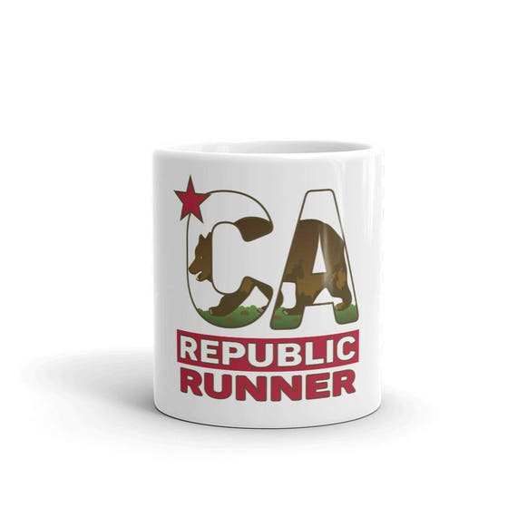 California Republic Runner Mug - Run California - 11 oz or 15 oz - Coffee Mug's for Runners