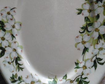 Dogwood Old Ivory Platter Onondaga Pottery Plate Syracuse China oval little platter with Dogwool florals O P Co. Design Patented