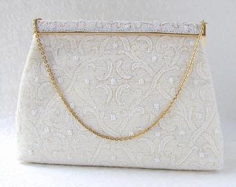 Chic Vintage White Beaded Purse FREDDY Paris French Glass Bead Wedding Handbag 1950s Formal Bridal Evening Bag Hand Made France Fleur De Lis