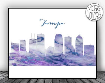 Tampa Florida Tampa Print Tampa Skyline Office Decor City Skyline Prints Skyline Art  Art ArtPrintsZoe